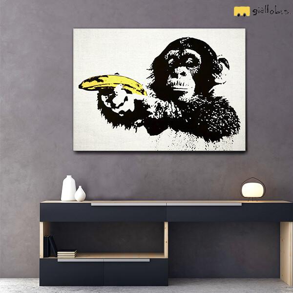 scimmia-pistola-gialla-riproduzione-su-tela-banksy