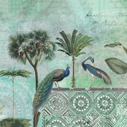 Peacock and crane