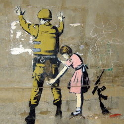 Girl searches soldier