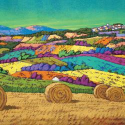 Colorful hills sea green sky