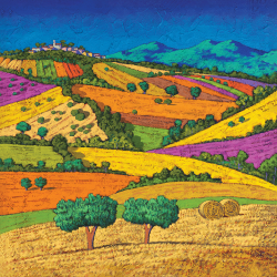Landscape with wheat field and two trees