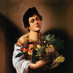 Child with a basket of fruit