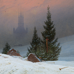 Church with winter landscape