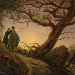 Two men look at the moon
