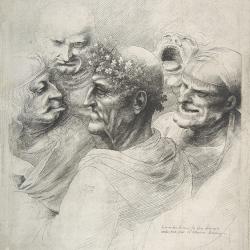 Five grotesque heads