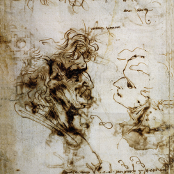 Drawing of two heads in profile