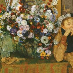 Woman sitting near the flower pot