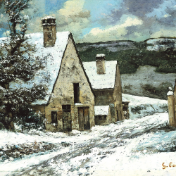 The exit of the village in winter