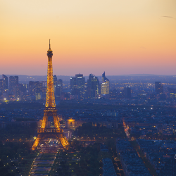 Eiffel Tower and La Defense at sunset