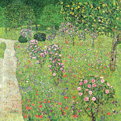Orchard with roses