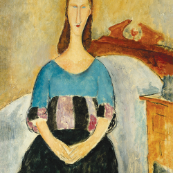Jeanne Hebuterne sitting on the bed