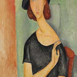 Jeanne Hebuterne with black shirt and hat