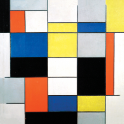 Composition A with Black, Red, Gray, Yellow and Blue