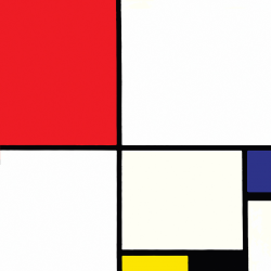 Composition n. 3 with Red Blue Yellow and Black