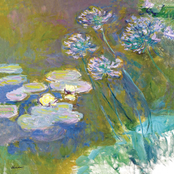 Pond with Water Lilies and Flowers