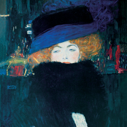 Lady with hat and feather boa