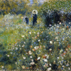 Woman with umbrella in the garden