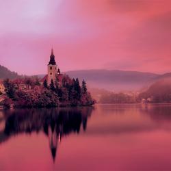 Bled lake at dusk