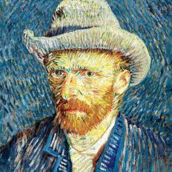 Self-portrait with gray felt hat