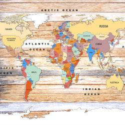 World Map on Wooden Planks