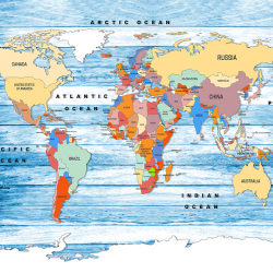 World Map on BLUE Wooden Planks