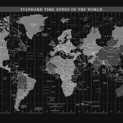 Black time zone world map