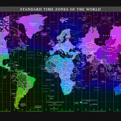 Colorful time zone world map