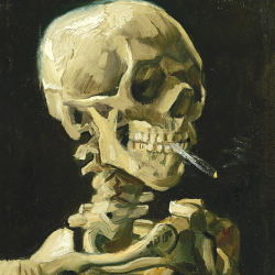Head of a skeleton with a cigarette