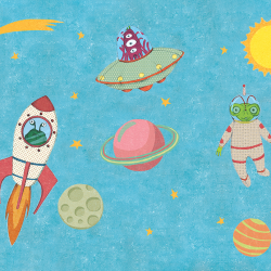 Illustrations for children.Space characters