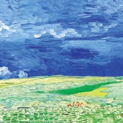 Wheat field under a stormy sky
