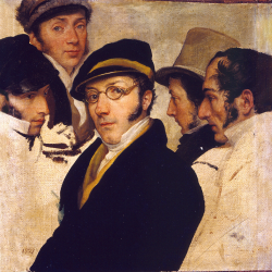 Self-portrait among a group of friends