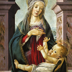 Madonna and child in front of the window