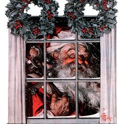 Santa Behind Window