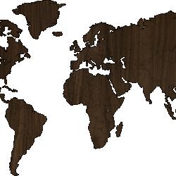 World map - WALNUT MDF wood wall decoration