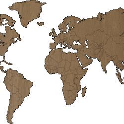 World map - MDF OAK wood wall decoration