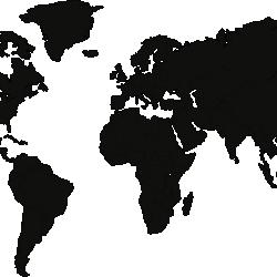 World map - BLACK MDF wood wall decoration