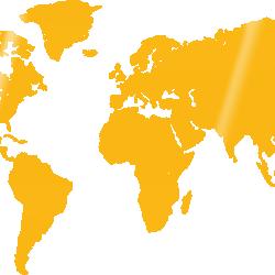 World map - yellow acrylic glass wall decoration