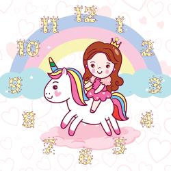 Princess and unicorn towards the rainbow