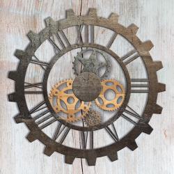 Clock mechanisms on wood