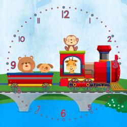 Puppy friends on the little train