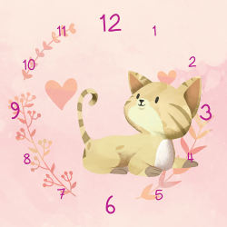 Kitten on pink background with hearts