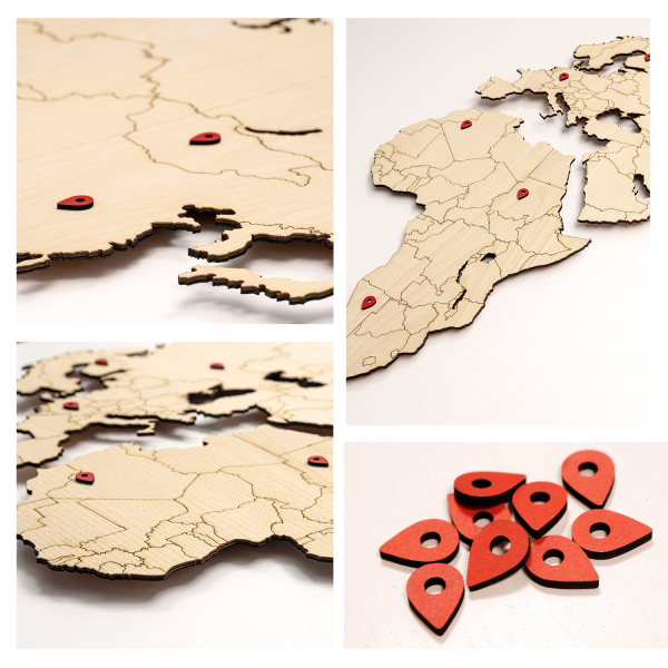 World map - MDF ASH wood wall decoration