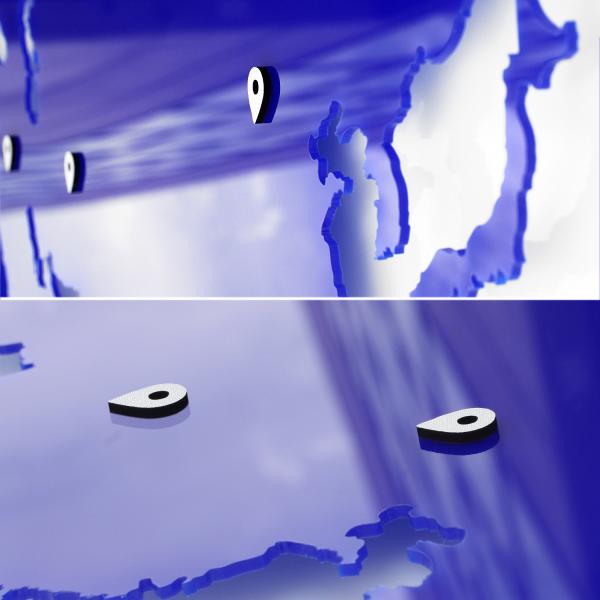 World map - blue acrylic glass wall decoration