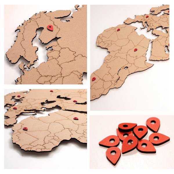 World map - HAVANA MDF wood wall decoration