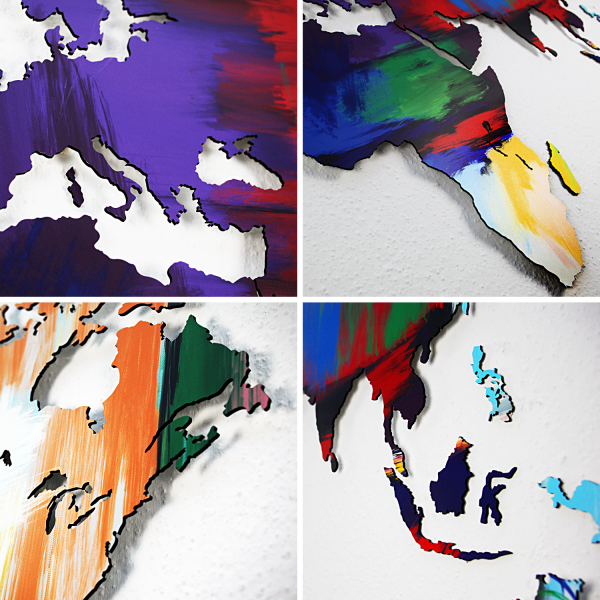 World Map - Special Edition - Abstract Colors - Mdf wooden wall decoration