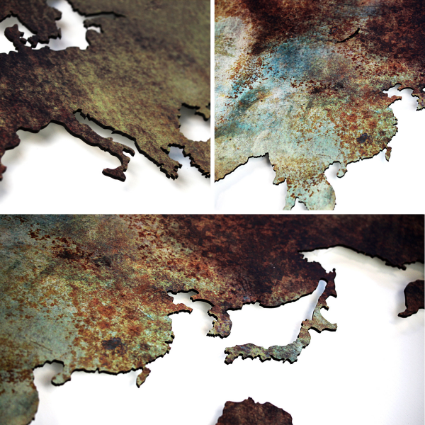 World map - Special edition - Industrial rust effect - mdf wooden wall decoration